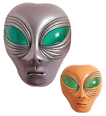 ALIEN MASK PLASTIC SILVER OR BEIGE