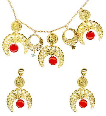 GIPSY SET NECKLACE / EARRINGS RED/GOLD