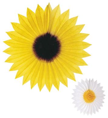 FLOWER PAPER FAN 50cm - Daisy / Sunflower