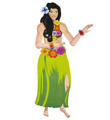 JOINTED CUTOUT HAWAIIAN LADY 135cm