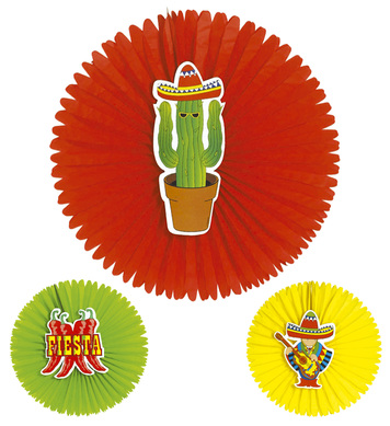 MEXICAN PAPER FAN DECORATION 55cm - 3 style options