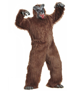 BROWN BEAR PLUSH COSTUME (jumpsuit hands feet mask)
