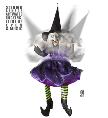 ANIMATED SITTING WITCH 90cm