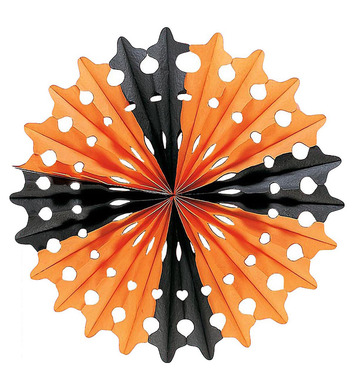 HALLOWEEN PAPER FAN BLK/ORANGE 55cm