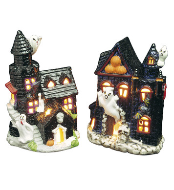 HAUNTED CASTLE TEALIGHT HOLDERS