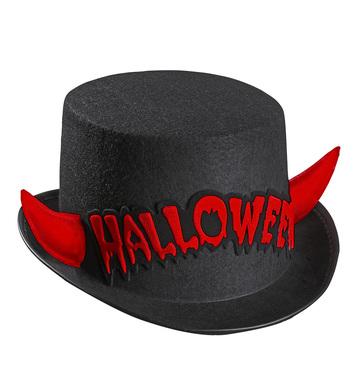 FELT H/WEEN TOP HAT W/RED REFL HORNS