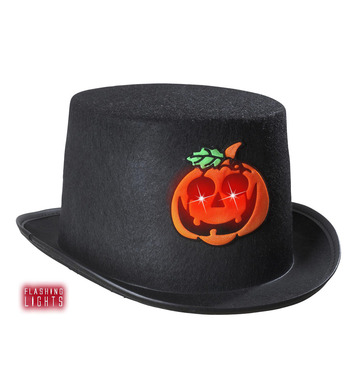 FELT HALL. TOP HAT W/ FLASHING PUMPKIN