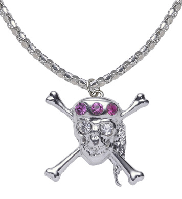 STRASS SKULL NECKLACE SILVER/PINK