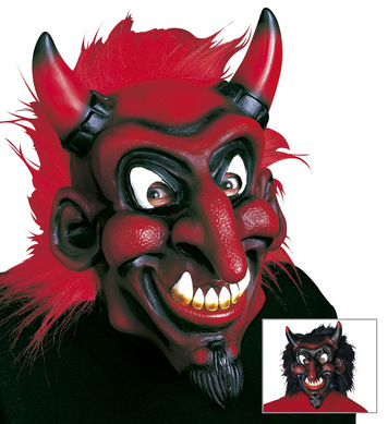DEVIL MASK WITH PLUSH HAIR