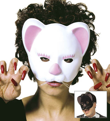 CAT MASK - FLOCKED BLACK/WHITE