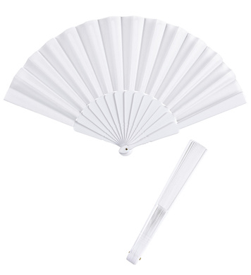 WHITE FABRIC FAN 23cm