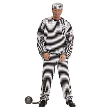CONVICT COSTUME HEAVY FAB black/white (coat pants hat)