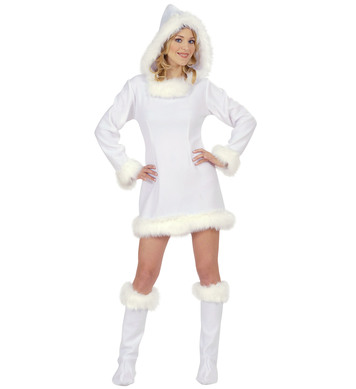 ESKIMO GIRL WHITE COSTUME (hooded dress boot covers)