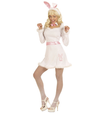BUNNY DRESS - WHITE (dress belt collar w/bow tie ears)