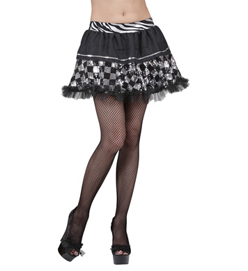 CHEQUERED SEQUIN TUTU - BLACK/SILVER