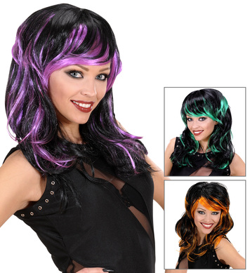 LONG WAVY WIG -  (orange/green/purple)