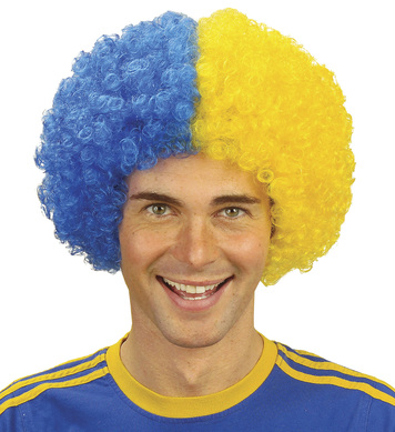 TWO TONE CURLY WIG - BLUE/YELLOW