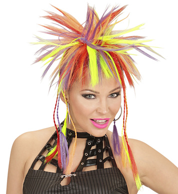 NEON MULTICOLOUR PLAITS W/COMB FL RET