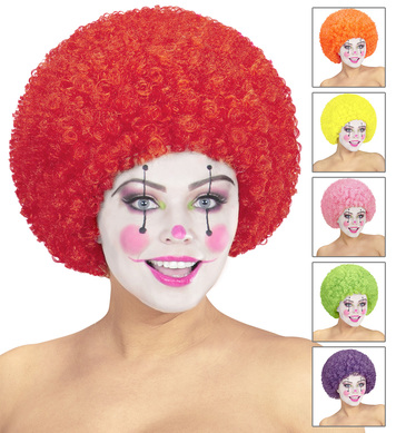 CURLY CLOWN WIG (red/ppl/grn/orange/yell/pink)