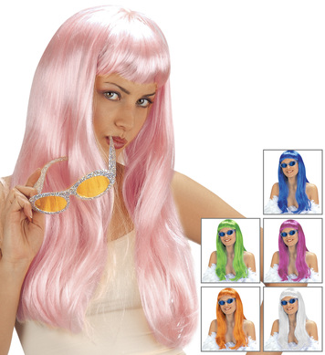 FASHION WIG (grn/blue/white/orange/p.pink/magenta)
