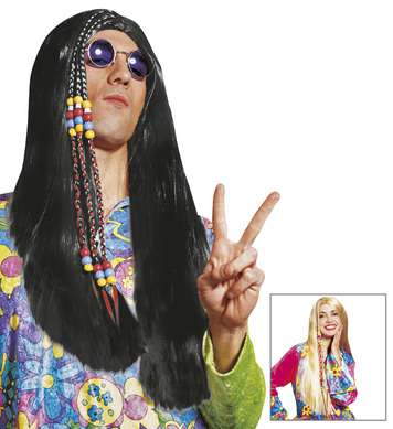 HIPPIE WIG PLAITED black or blonde