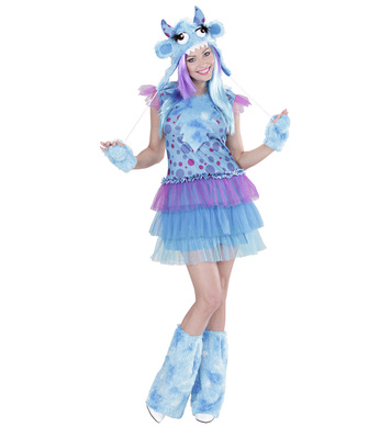 BLUE MONSTER GIRL S (dress h/piece gloves leg warmers)