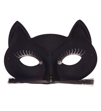 BLACK CAT EYEMASK W/ EYELASHES WHISKERS