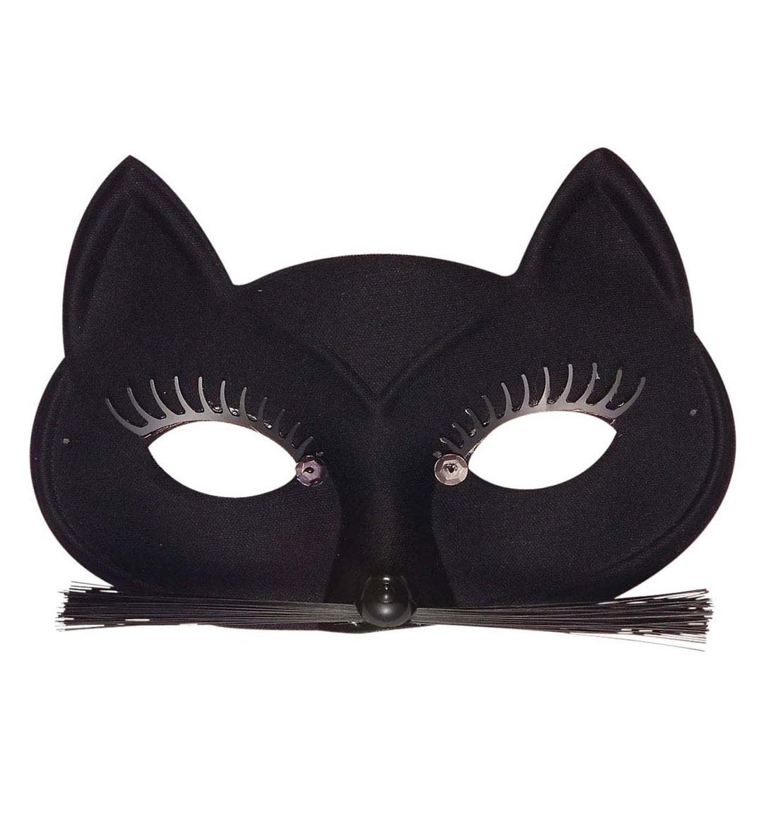 Black Cat Eyemask with Eyelashes Whiskers Animal Fancy Dress