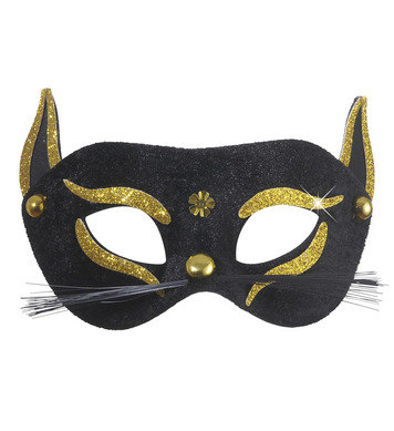 BLACK CAT EYEMASK - GOLD GLITTER