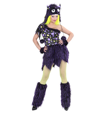 DELUXE PURPLE MONSTER GIRL (dress h/piece gloves leg war