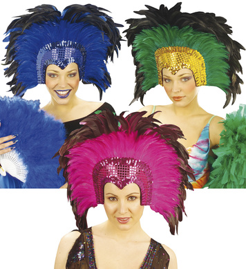 CRAZYHORSE FEATHER HEADDRESS  blue/pink/green