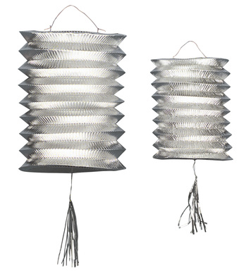 LANTERNS SILVER METALLIC 25cm