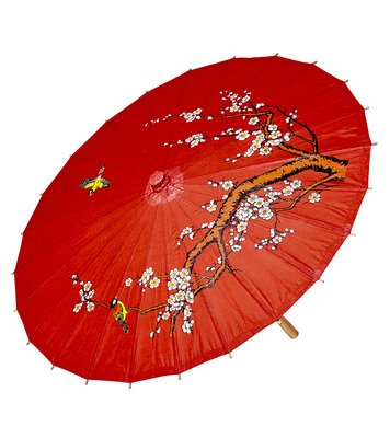 RED RICE PAPER ORIENTAL PARASOL W/WOODEN STRUCTURE ø 84cm