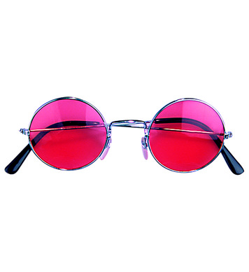 CHARACTER HIPPIE 70s GLASSES WITH RED/PINK LENSES