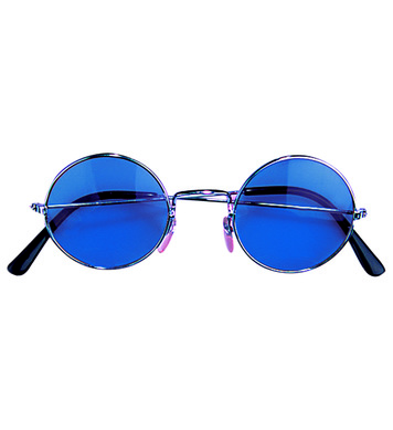 CHARACTER HIPPIE 70s GLASSES WITH BLUE LENSES