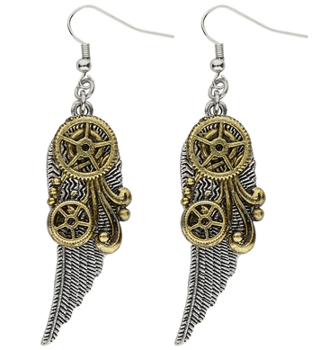 STEAMPUNK EARRINGS WITH WINGS