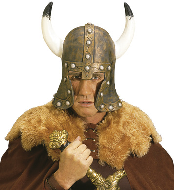 LATEX BARBARIAN HELMET W/HORNS BRONZE