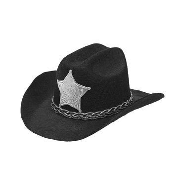 FELT BLACK COWBOY MINI HAT w/ SHERIFF STAR