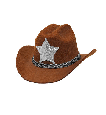 FELT BROWN COWBOY MINI HAT w/ SHERIFF STAR