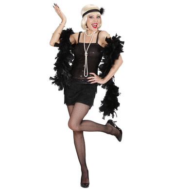 BLACK FLAPPER (dress headband w/ feather)