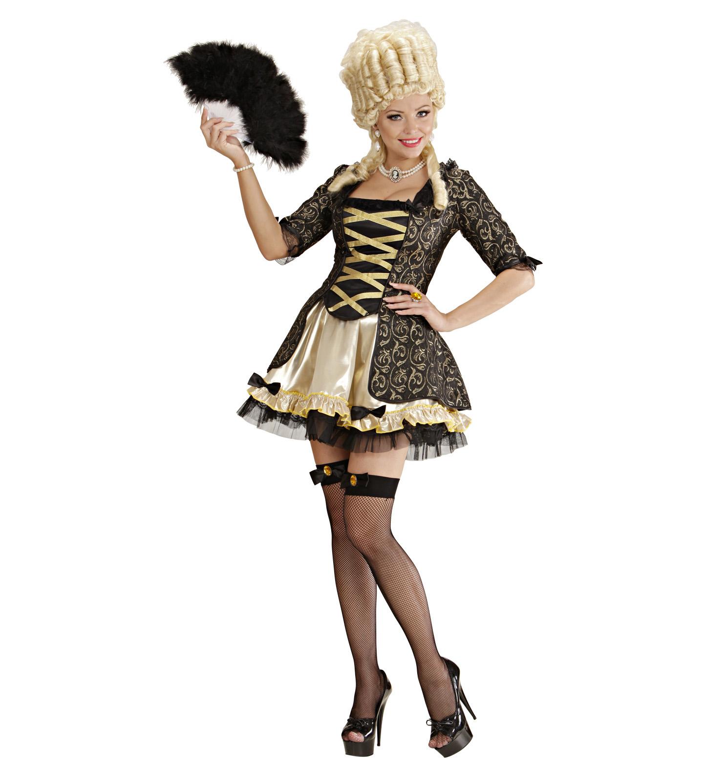 Ladies Black Baroque Queen Dress Petticoat Fishnet Thigh Highs Costume