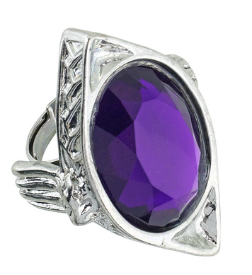 GOTHIC RECTANGULAR RING W/PURPLE GEM