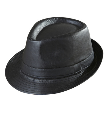 BLACK LEATHERLOOK FEDORA