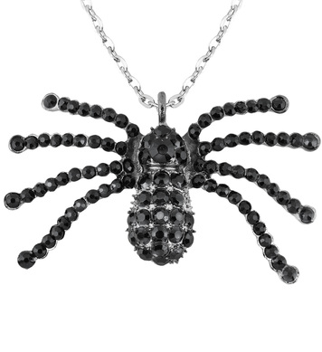 BLACK STRASS SPIDER NECKLACE