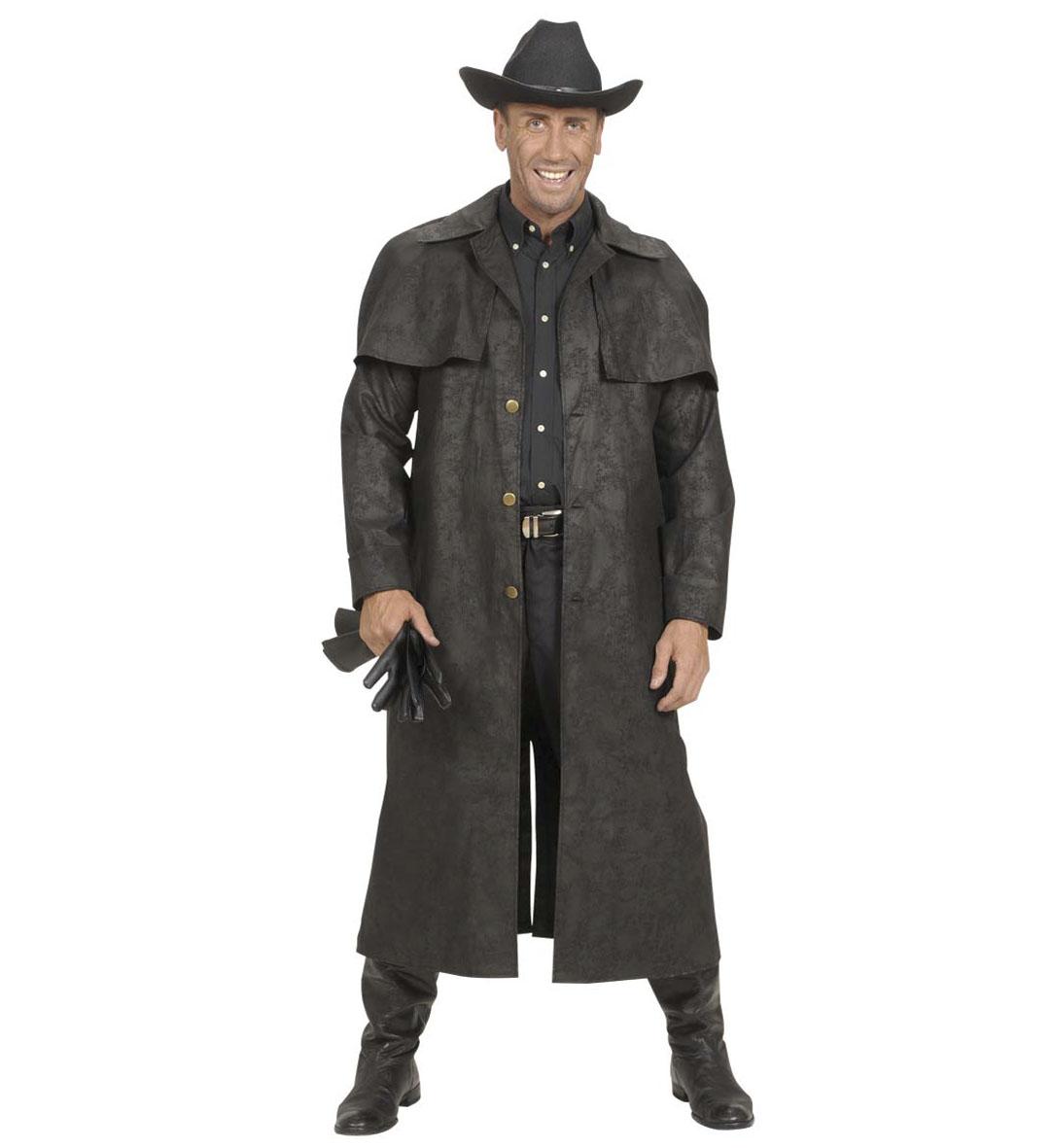 Mens Black Duster Coats Costume Cowboy Wild West Fancy Dress