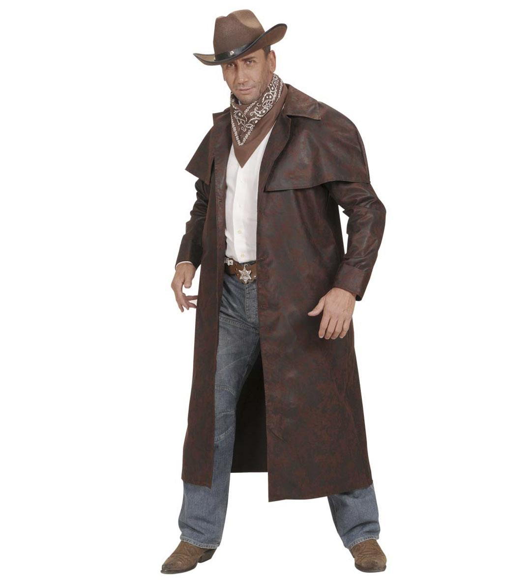 Mens Brown Duster Coats Costume Cowboy Wild West Fancy Dress