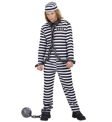 CONVICT COSTUME -  black/white (coat pants hat) Childrens