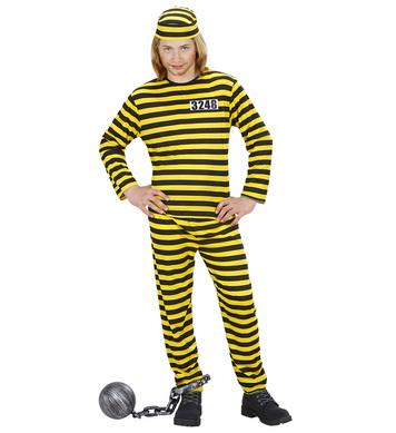CONVICT COSTUME -  black/yellow (coat pants hat) Childrens