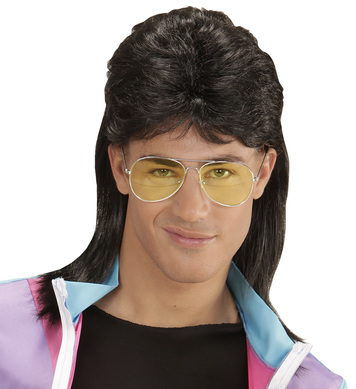 80s MULLET WIG W/GLASSES - BLACK