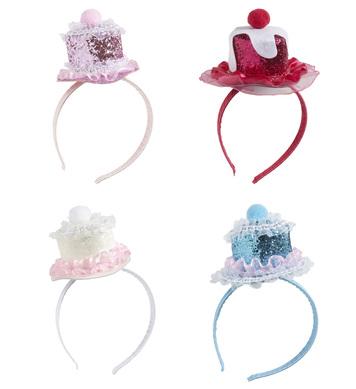 MINI GLITTER CAKE HAT ON HEADBAND - 4 styles